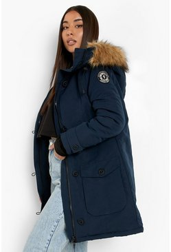 Faux Fur Trim Hooded Padded Jacket, Navy blu oltremare