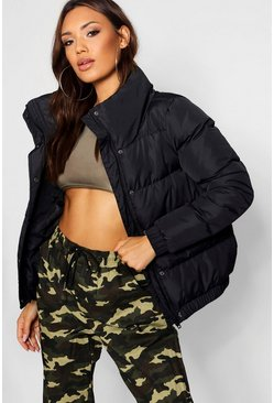 Black Crop Funnel Neck Padded Jacket
