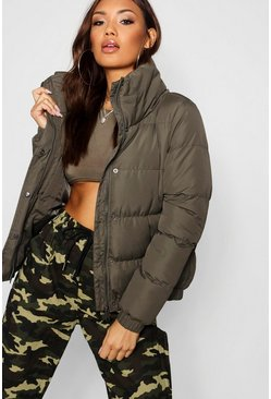Khaki Crop Funnel Neck Padded Jacket