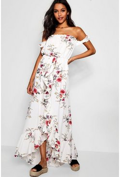 Multi Floral Off Shoulder Ruffle Wrap Maxi Dress