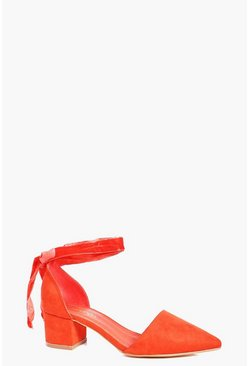 Orange Daisy Wide Fit Pointed Wrap Strap Ballets
