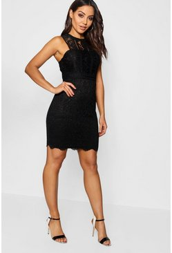Black Boutique  Lace Racer Neck Bodycon Dress