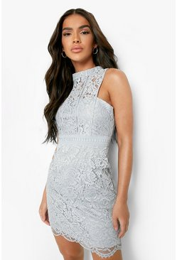 Grey Boutique  Lace Racer Neck Bodycon Dress