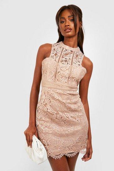 Mink beige Boutique  Lace Racer Neck Bodycon Dress