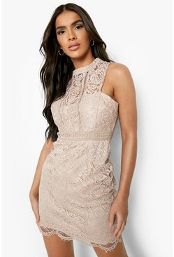 Mink beige Boutique  Lace Racer Neck Bodycon Dress