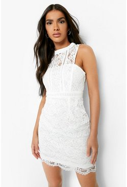 Collection robe moulante col nageur en dentelle, Blanc