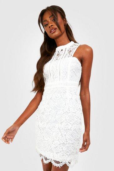 White Boutique  Lace Racer Neck Bodycon Dress