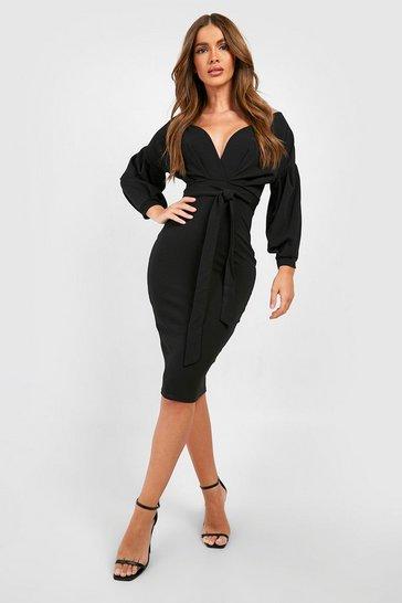 Black Off The Shoulder Wrap Midi Bodycon Dress
