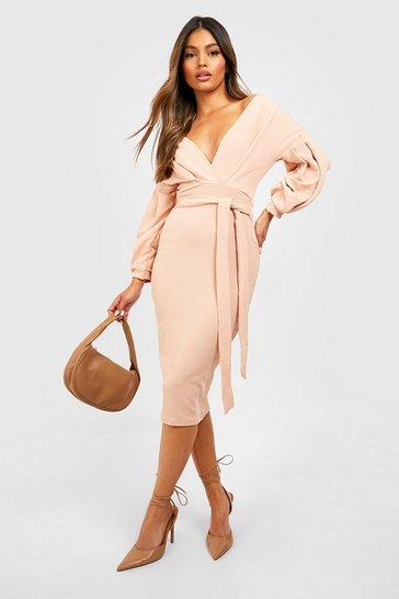 Blush pink Off The Shoulder Wrap Midi Bodycon Dress
