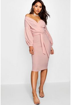 Blush pink Off The Shoulder Wrap Midi Bodycon Dress