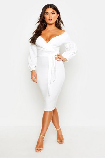 Ivory white Off The Shoulder Wrap Midi Bodycon Dress
