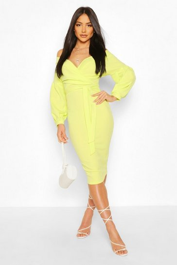 Lime green Off The Shoulder Wrap Midi Bodycon Dress