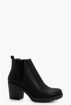 Black Chunky Cleated V Detail Chelsea Boots