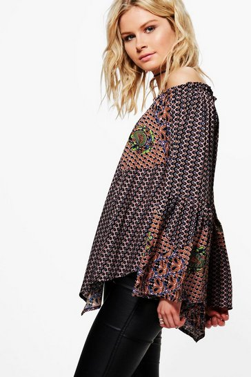Multi Mila Mixed Print Off The Shoulder Top