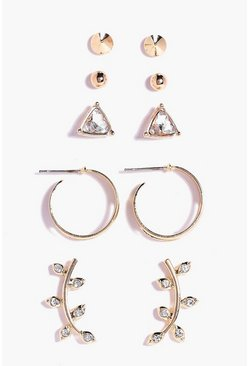 Gold Ear Cuff & Stud 5 Earring Set