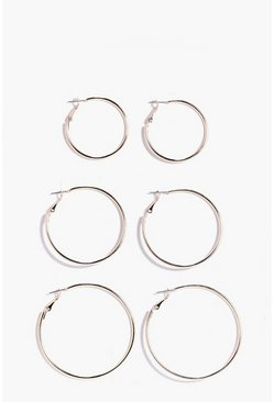 Gold metallic Mixed Size Hoop Earring 3 Pack