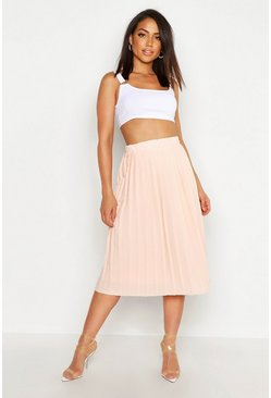 Nude Crepe Pleated Midi Skirt