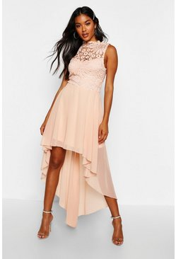 Blush pink Boutique Lace & Chiffon Dip Hem Bridesmaid Dress