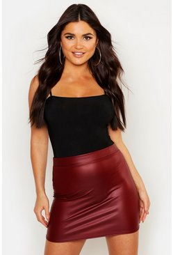 Berry red Matte Leather Look Stretch Mini Skirt