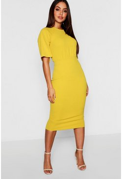 Chartreuse Split Sleeve Detail Wiggle Midi Dress