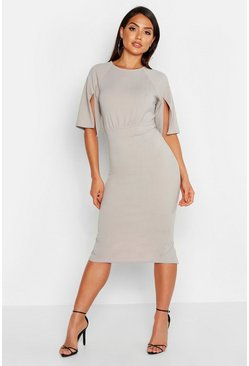 Grey Split Sleeve Detail Wiggle Midi Dress