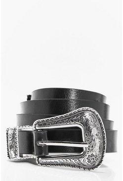 Mens Silver M Buckle Double Belt