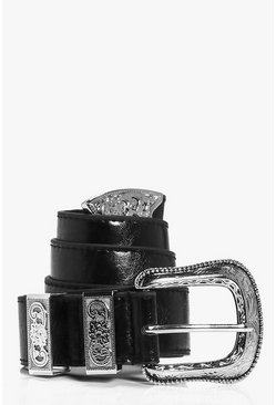 Black Oversize Western Buckle Boyfriend Belt