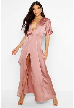 Rose pink Boutique Kimono Maxi Satin Bridesmaid Dress