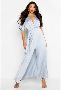 Sky blue Boutique Kimono Maxi Satin Bridesmaid Dress