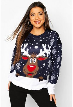 Navy Reindeer Christmas Jumper