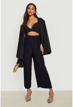Black Slinky Pleated Wide Leg Cropped Trousers