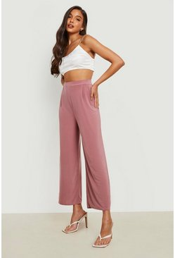Mink beige Slinky Pleated Wide Leg Cropped Trousers