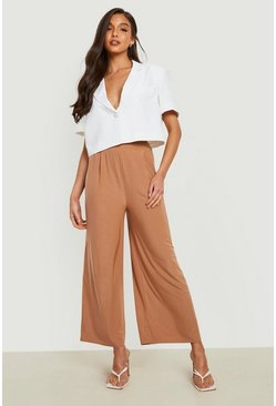 Tan brown Slinky Pleated Wide Leg Cropped Trousers