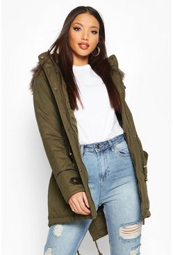 Khaki Parka With Faux Fur Trim Hood