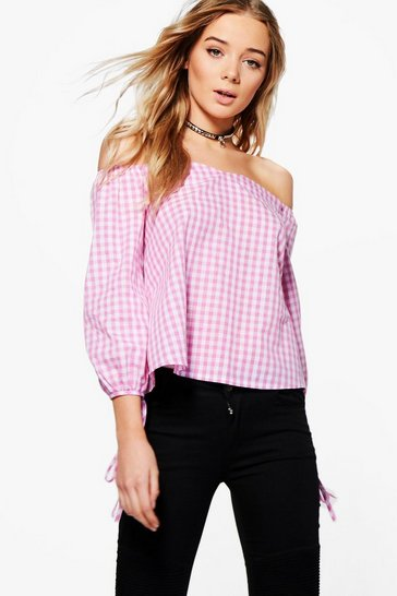 Pink Grace Gingham Off The Shoulder Woven Top