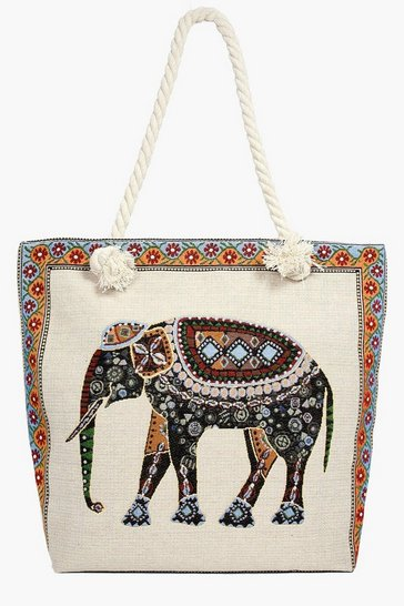 Multi Maisy Elephant Print Beach Bag
