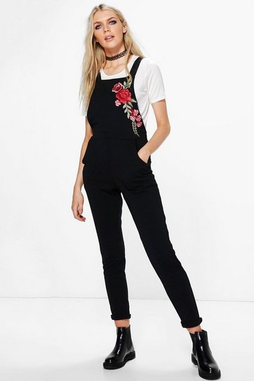Black Embroidered Dungarees