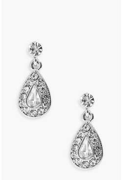 Silver Diamante Tear Drop Earrings