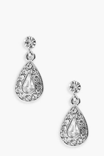 Silver Diamante Tear Drop Earrings