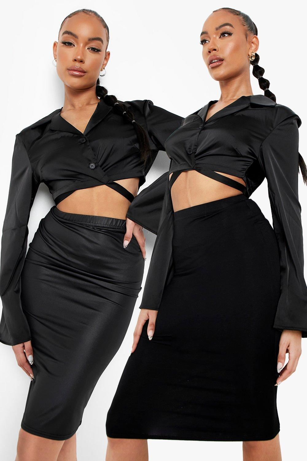 Women's 20 Pack Leather Look And Jersey Midi Skirt   Boohoo UK