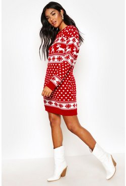 Red Reindeers And Snowflake Christmas Jumper Dress