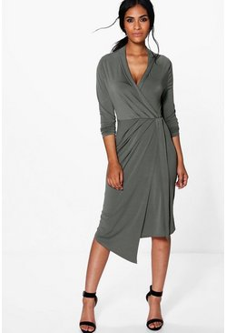 Khaki Alicia Long Sleeve Wrap Front Midi Dress