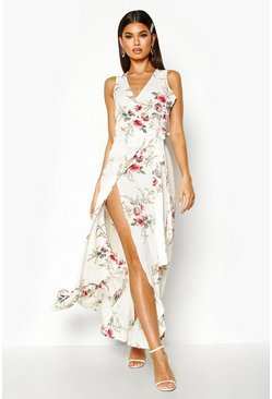 White Floral Wrap Ruffle Hem Maxi Dress