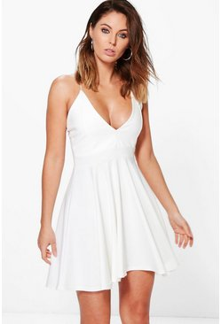 Ivory white Strappy Plunge Neck Skater Dress