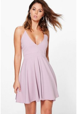Mauve purple Strappy Plunge Neck Skater Dress