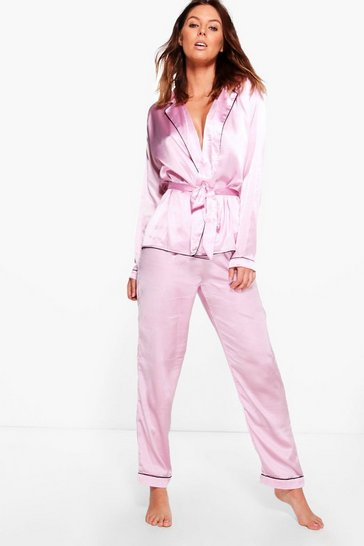 Pink Boutique Eve Satin Robe Front Night Shirt & Trouser PJ Set