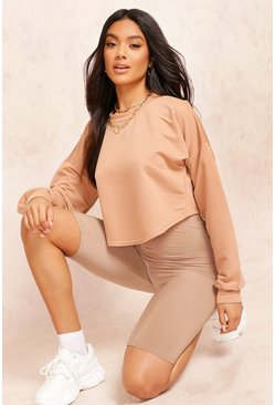 Camel beige Crop Oversized Sweat