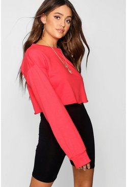 Red Crop Oversized Sweatshirt