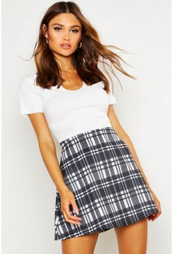 Multi Monochrome Check A Line Mini Skirt