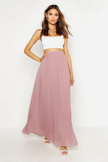 Taupe beige Chiffon Pleated Maxi Skirt